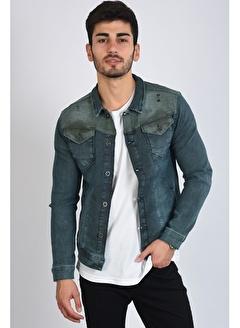 LTC Jeans Haki Kesik Detay Çift Cep Mavi Erkek Kot Ceket